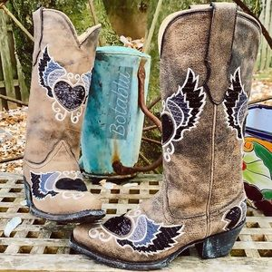 CORRAL Sequin Heart Wing Cowboy Western Boots 6.5